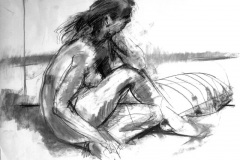 Figure Drawing in Charcoal on Paper